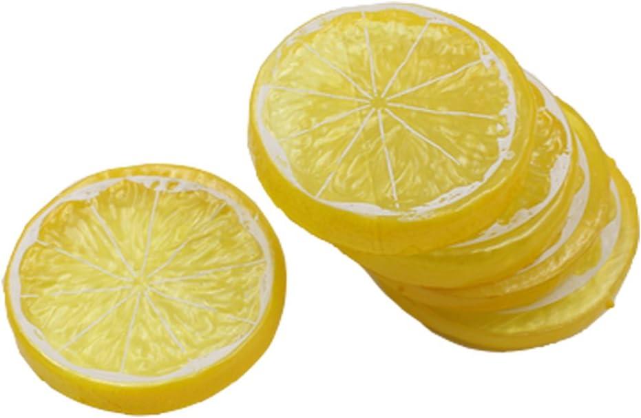 xiangshang shangmao 50pcs Fake Lemon Slice Garnish Artificial Fruit Faux Food House Decortion Yellow