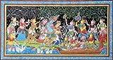 Radha Krishna with Sakhis in Vrindavan - Paata Painting on Tussar Silk Fabric - Folk Art from Puri