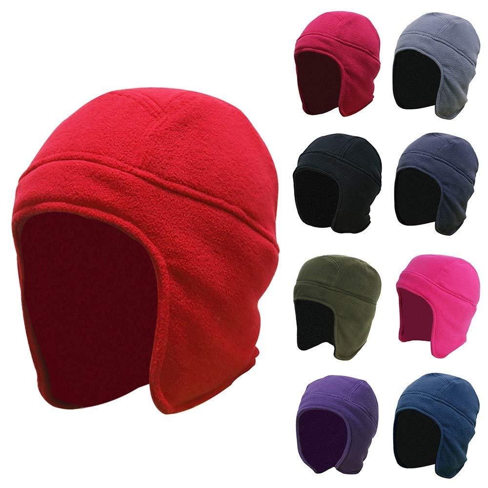 ASTV Mens Women Winter Outdoor Solid Color Fleece Earflap Hat Caps Ears Warm Hat
