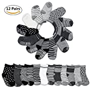 Yimaler 12-Pack Cotton Socks for Toddler Boys Girls Anti-slip Ankle Socks for Baby Walkers Non-skip Stretch Knit Stripes Star Assorted Cotton Socks with Grip for 16-36 Months Baby