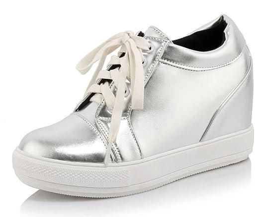 Aisun Damen Kunstleder Durchgängig Plateau Erhöht Keilabsatz Schnürsenkel High Top Sneakers Schwarz 40 EU WUTKh4
