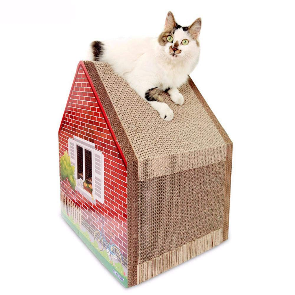 Hexiansheng Cat Climb Trees Corrugated Three-Dimensional cat House Kitty Home Grinding Claw roof Assembly-Free 47  36.5  53.5cm