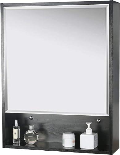 LUCKWIND Bathroom Medicine Cabinet Mirror – 24 Wall Storage Vanity Espejo ba o Organizer Wood Storage Cabinet with Mirror Adjustable Wall Mounted Cabinet Black 28 X 22
