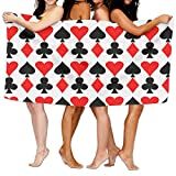 Chion Poker Pattern Beach Cover Up Comfortable Swimming Bath Towel