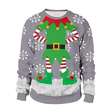 JiaMeng-ZI Impresión Creativa de Navidad Suéter de Punto Cuello ...