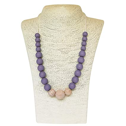 Teething Necklace Nursing Sensory Silicone Jewellery BPA Free Purple Green White