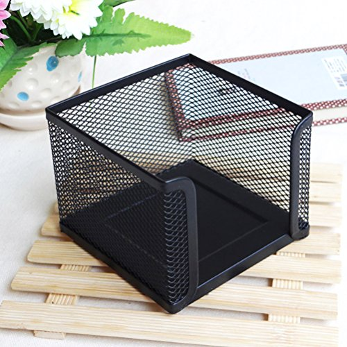 NUOLUX Table Metal Mesh Collection Square Note Paper Holder Desktop Accessory (Black)