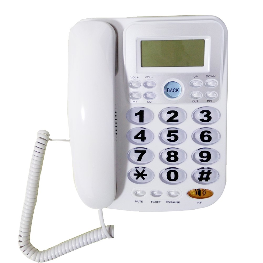HePesTer P-34W Big Button Phone for Seniors Amplified Corded Phone with Caller ID for Hearing Impaired Works in Power Outage for Emergency Telephone(White)