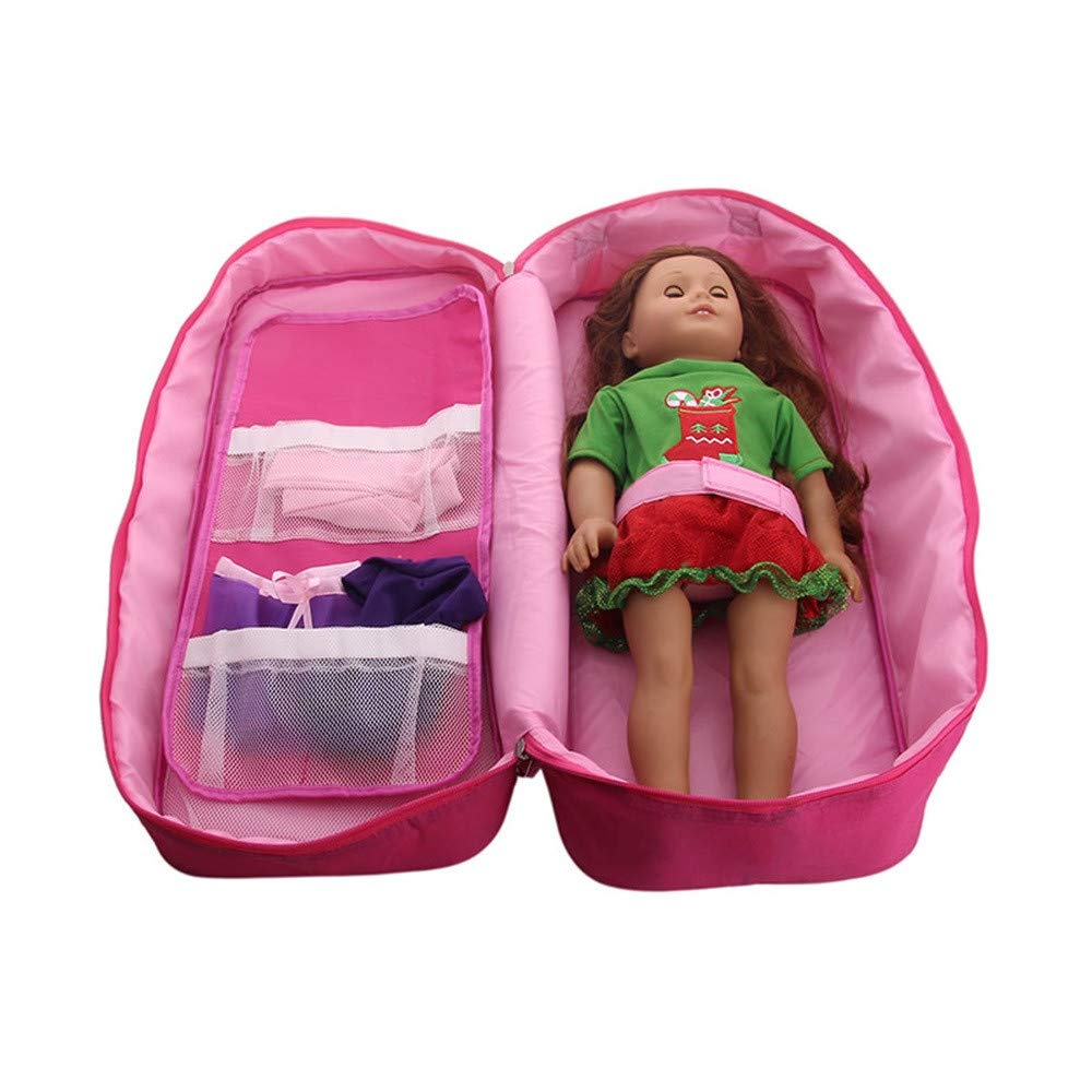 Doll Travel Case Suitcase Storage Bag Wardrobe for 18 inch American Girl Doll