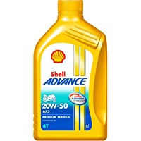Shell Advance AX5 550043185 20W-50 API SL Premium Mineral Motorbike Engine Oil (1 L)