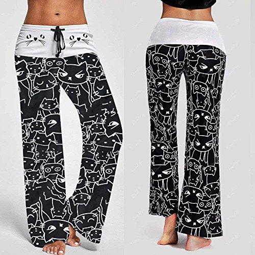 Libero Sportivi Gatto Semplice Pantalone Fashion Baggy Grazioso Yoga Vita Khaki Tempo Haidean Elastica Donna Sciolto Pantaloni Coulisse Con Eleganti Stampato Glamorous I0qdH