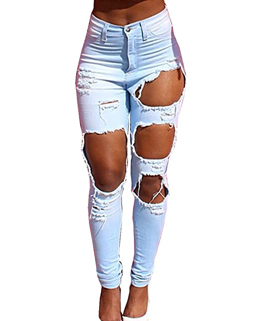 78f87fb857f83 TheFoud Women Casual Destroyed Ripped Distressed Skinny Denim Jeans (Light  Blue, S)