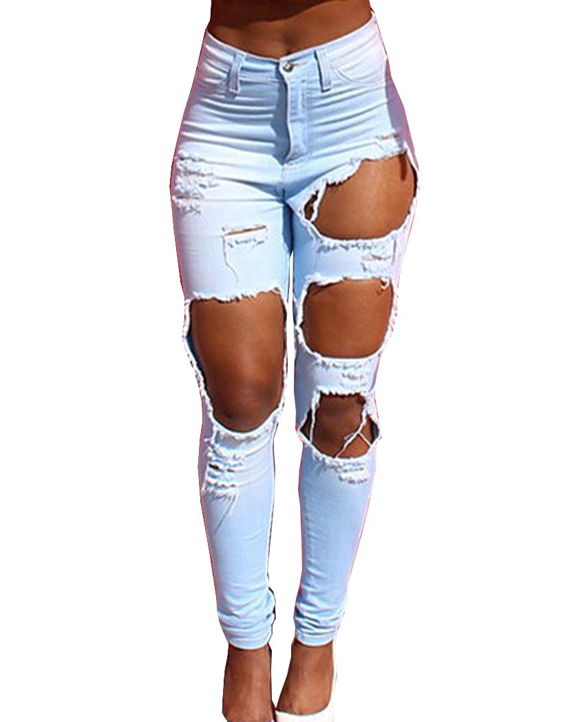 TheFoud Women Casual Destroyed Ripped Distressed Skinny Denim Jeans (Light Blue, XL)
