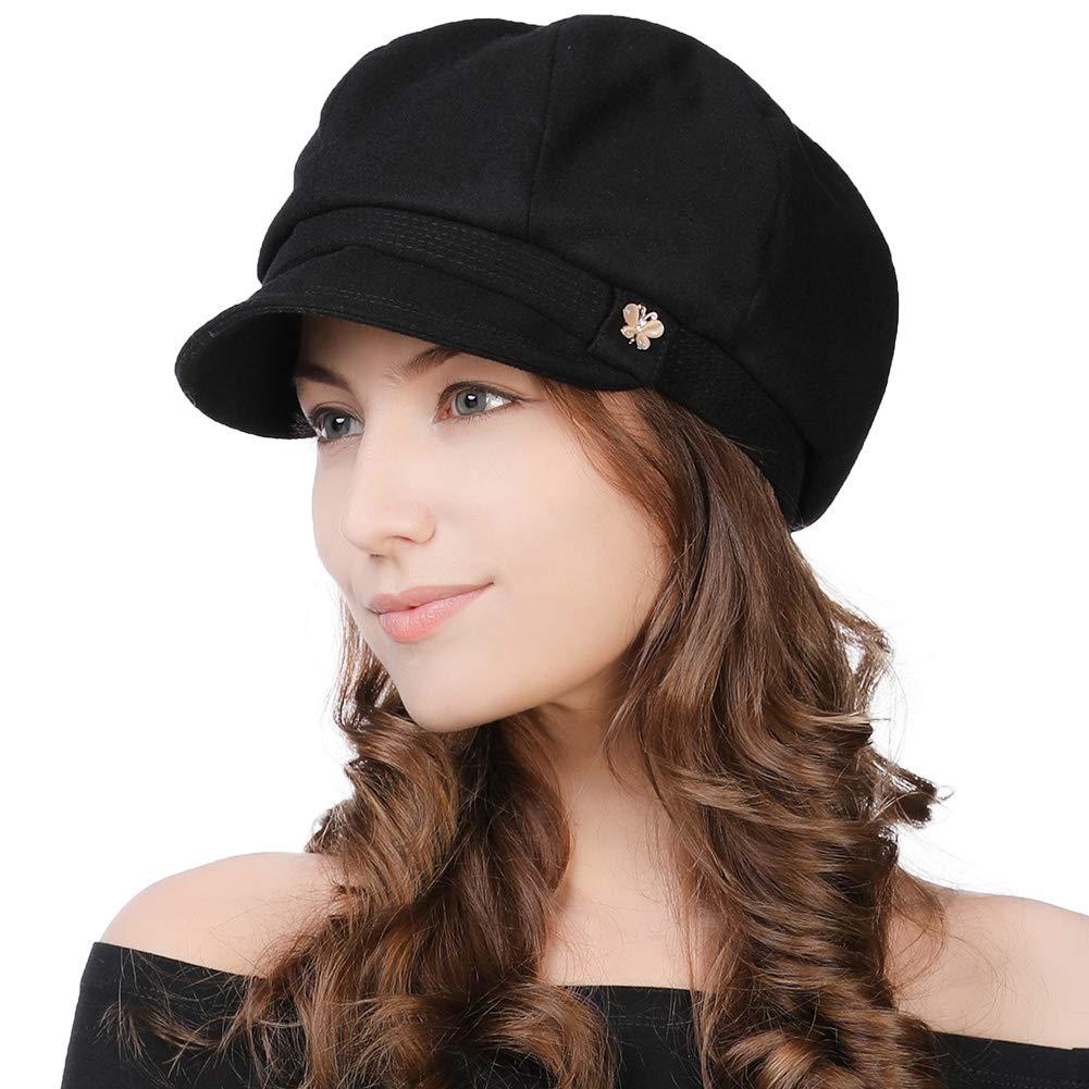 Womens Winter Visor Beret Newsboy Cap Paperboy Cabbie Painter Conductor Hat Black by Fancet