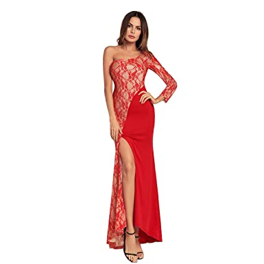 Womens Lace Cocktail Split Dress Sexy Ball Gown Prom Dresses Ladies Long Illusion Evening Dresses For Party Swing: Amazon.co.uk: Clothing