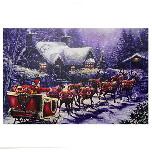 Northlight LED Lighted Santa and Reindeer Making Deliveries Christmas Canvas Wall Art 15.75