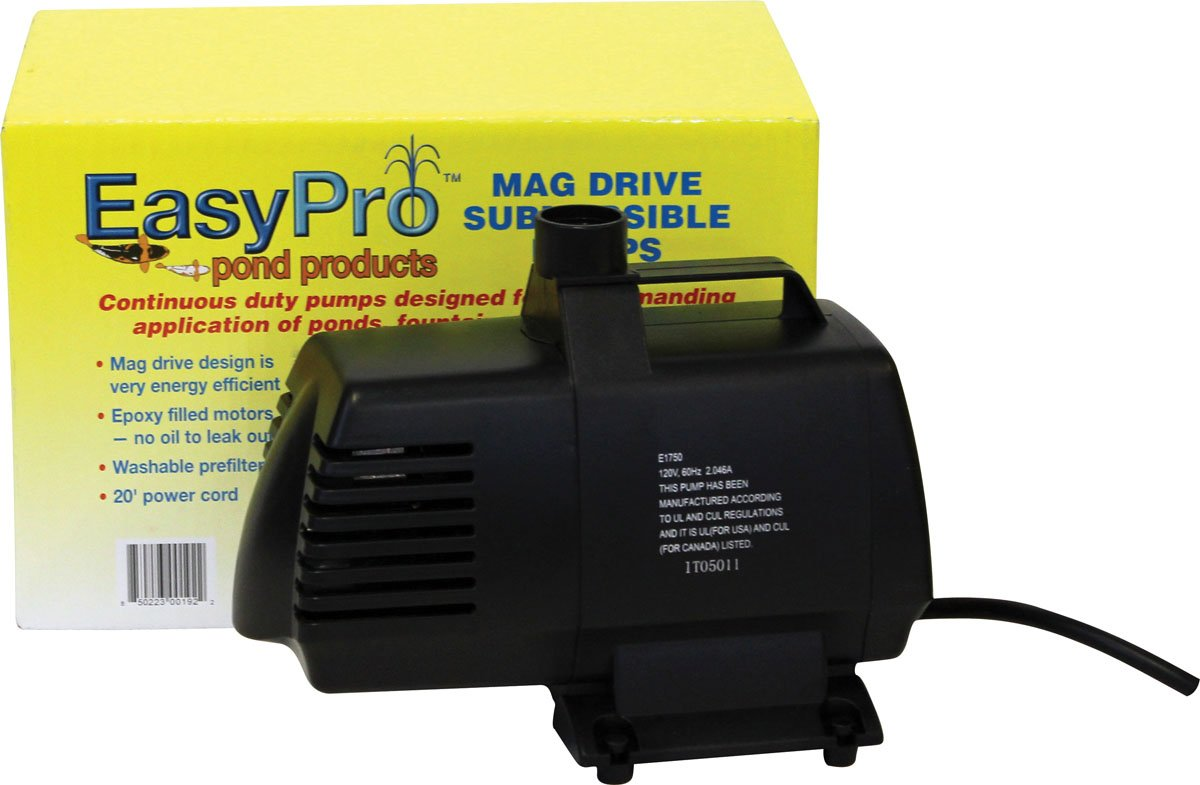 EasyPro EP1750 Submersible Mag Drive Pond Pump, Max Flow 1750 Gallons-Per-Hour