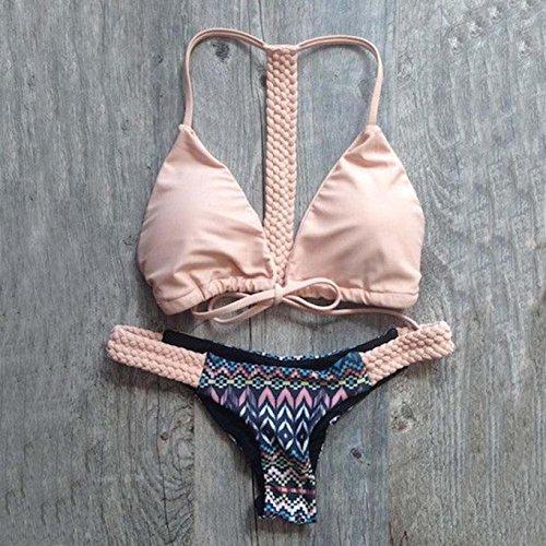 Trajes de baño, Internet Push-up acolchado bragas sujetador mujeres bikini conjuntos Rosado