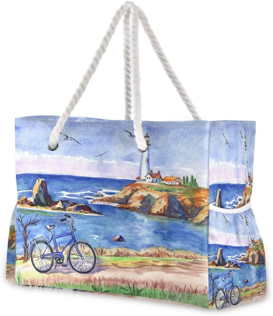 Hunihuni - Bolsa de playa con asa de cuerda de algodón, cremallera superior, dos bolsillos exteriores: Amazon.es: Equipaje