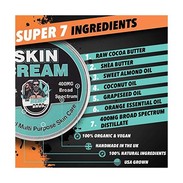 Skin Cream | 100ml – 400mg | Broad Plant | 100% All Natural Ingredients Zero Chemicals | Super Moisturising with Maximum Bio-Availability | Handmade in The UK | 100% Organic & Vegan