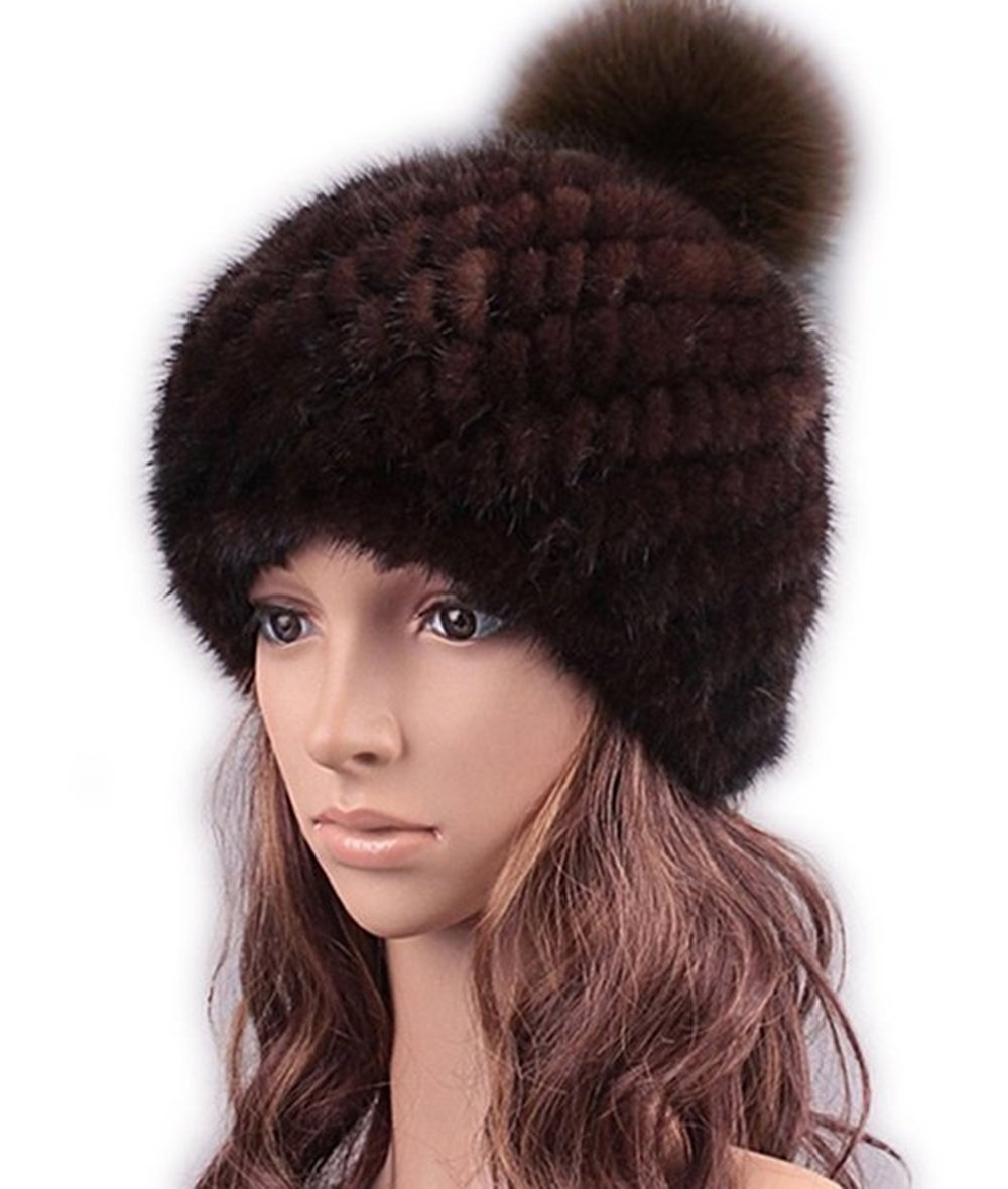 qmfur Real Mink Fur Hat Women Winter Knit Mink Fur Thick Fox Fur Hats New Bonnet (Brown)