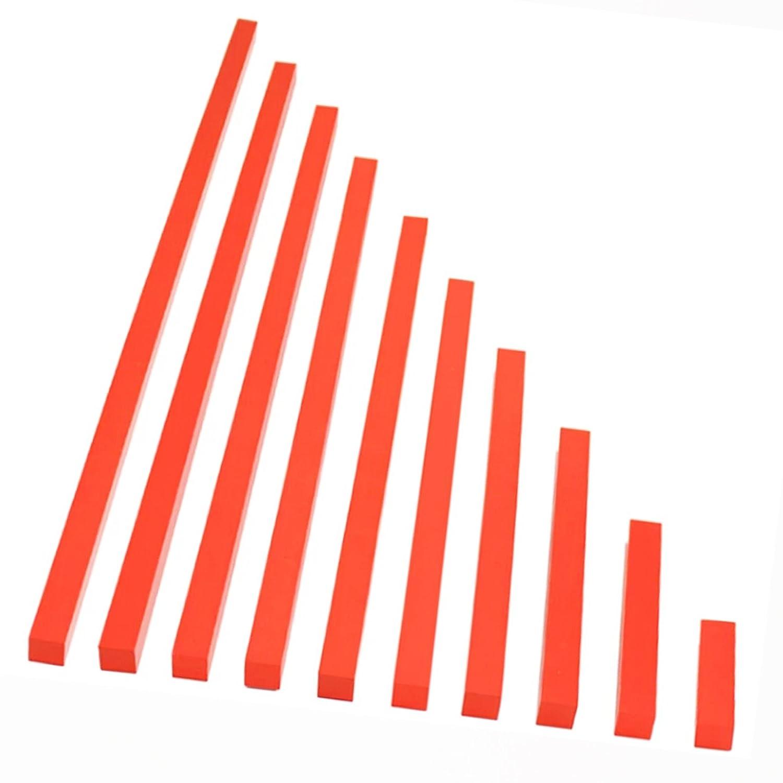 【MONTE Kids】モンテッソーリ教具 -- 赤い棒 大 教材用サイズ -- Montessori 知育玩具教具 幼児早期教育 モンテキッズ 本格教材 算数 おもちゃ -- 赤い棒 大   B06XX6K8FX