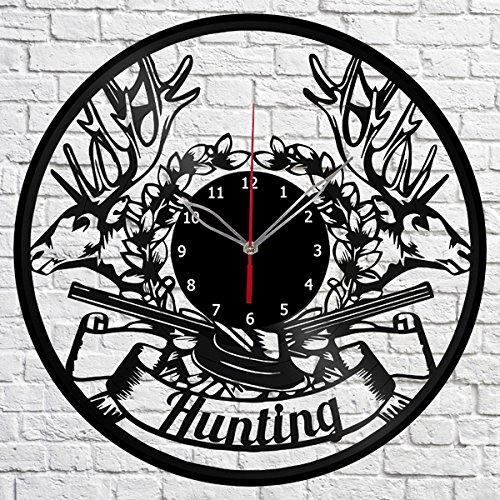 Hunting Vinyl Record Wall Clock Fan Art Handmade Decor Original Gift Unique Decorative Vinyl Clock 12