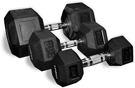 FAST FREE DELIVERY CoreX Fitness Weightlifting 9kg Rubber Hex Dumbbells Pair
