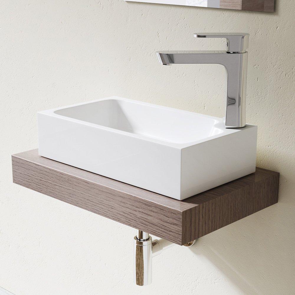 blanc Larg 46 cm haut 11 cm prof 26 cm rectangulaire Lavabo vasque /à poser /évier fonte min/érale Colossum 101