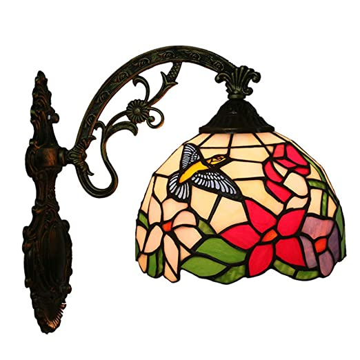 8273e6662 Vintage Tiffany Style Stained Glass Hummingbird Shades Wall Lamp Wall  Fixture 8 Inch: Amazon.co.uk: Lighting