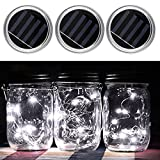 3-Pack Solar Mason Jar Lid Insert - iBetterLife Battery Operated Mason Jar LED String Light Fairy Screw on 2.76''(70mm) Silver Lid, Outdoor Patio Party Weeding Decors (Jars NOT Included) (Bright White)