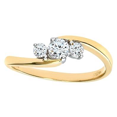 Naava Women's 9 ct Yellow Gold Diamond Three Stone Ring qXbL0fk52a