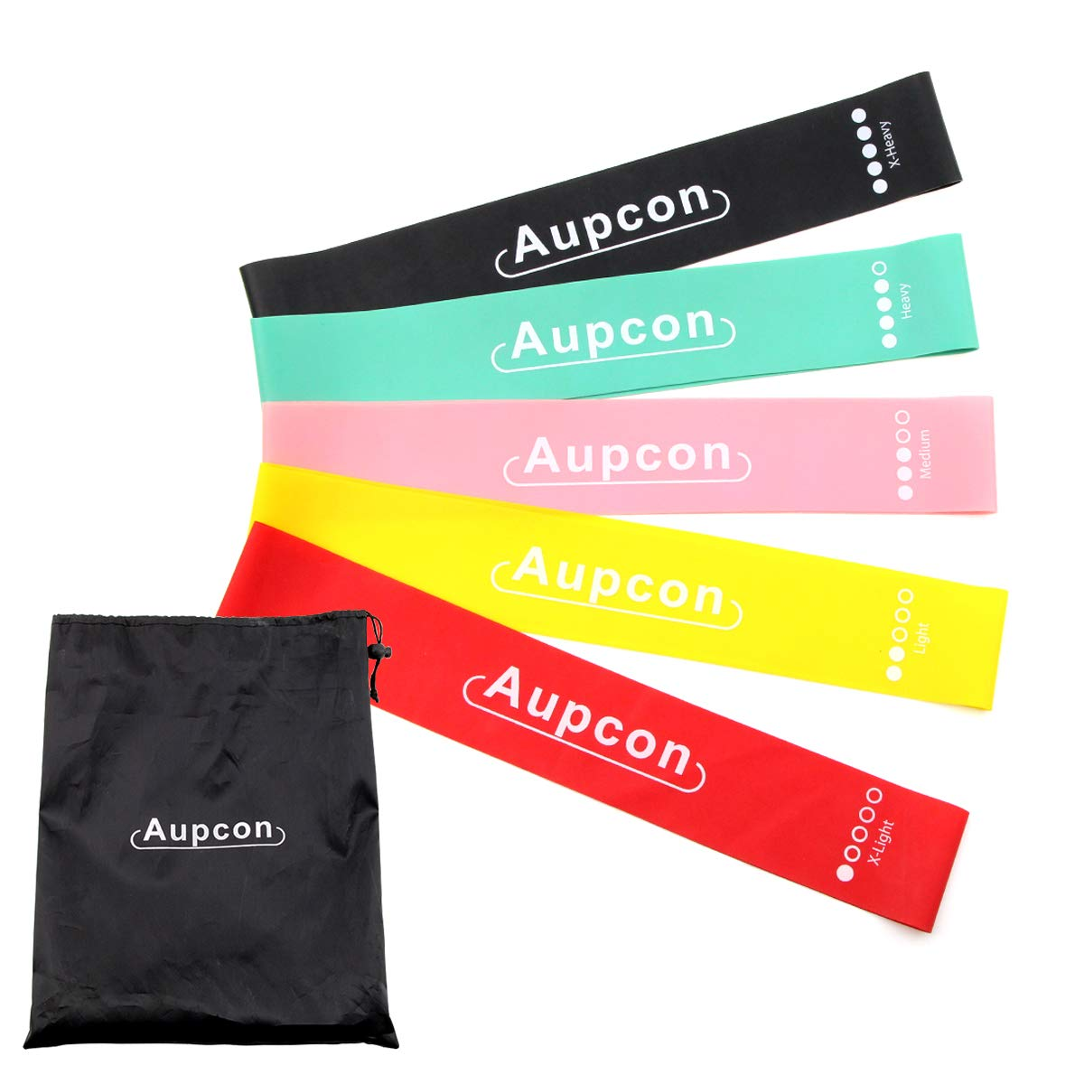 AUPCON Pull Up Assist Bands Resistance Band Exercise Bands Home Fitness, Stretching and Assistance Training Band (#7 Set of 5,Multi-Color)