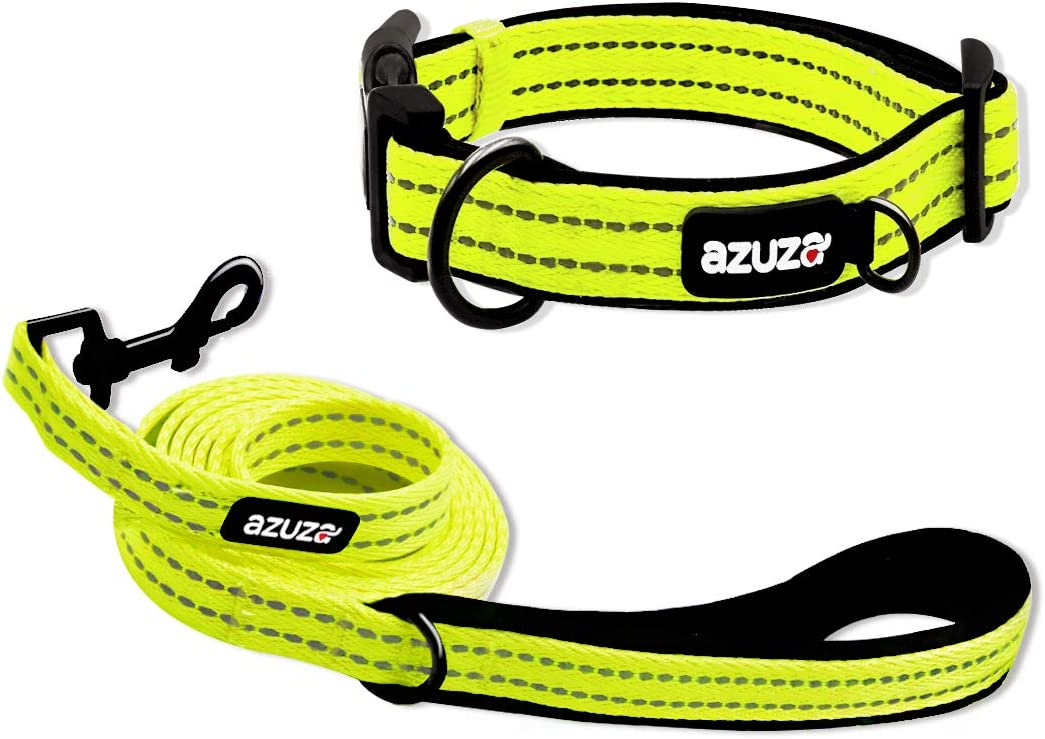 azuza Durable Padded Dog Leash and Collar Set, Reflective Strip Extra Safe and Comfy for Small to Large Dogs