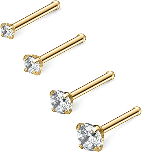Great my shop 20G Stainless Steel Clear Color Diamond 3mm CZ Nose Stud Rings Bone Pin Piercing Jewelry