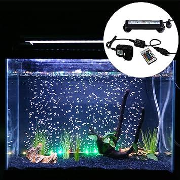 Kuty LED Pecera Luces de iluminación del Acuario 5050 SMD RGB Barra de luz bajo el Agua con Control Remoto Tanque de Pesca(Europa estándar Plug): Amazon.es: ...