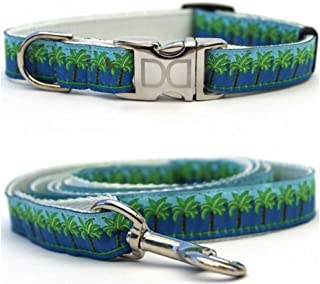 "product image for Diva-Dog 'South Beach Blue' Custom Small Dog 5/8"" Wide Dog Collar with Plain or Engraved Buckle, Matching Leash Available - Teacup, XS/S"