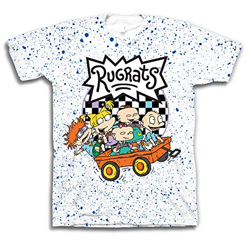 Nickelodeon Mens 90's Classic Shirt - Rugrats & Hey Arnold Vintage T-Shirt (White Rugrats Splatter, X-Large)]()