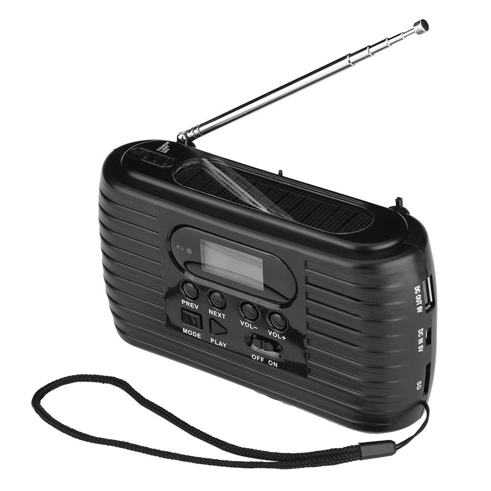 Voyages et Activit/és de Plein Air. USB Rechargeable Radio AM//FM Portable Lecteur de Musique MP3 avec Lumi/ères LED Support Carte Micro SD pour Camping Radio durgence Solaire Noir