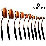 Fashion Base® 2016 Professional Hot Rose Golden Beauty Kabuki Elite Oval Tooth Design Makeup Brush/Toothbrush Set For Applying Cosmetic Products Amazing Large Kit/Set (10Pcs Rose Golden)