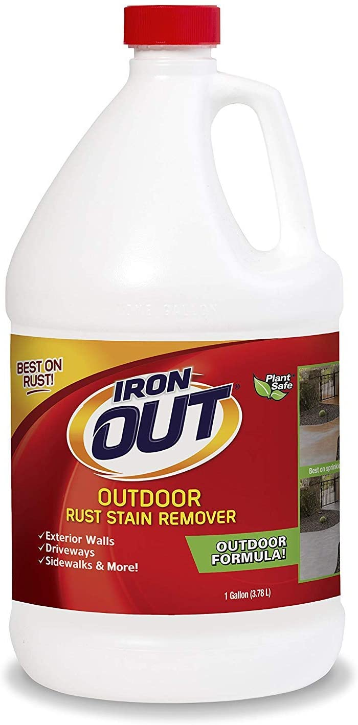 Iron OUT Liquid Rust Stain Remover, Pre-mixed, Quickly Removes Rust Stains from Concrete, Vinyl and Other Outdoor Surfaces, No Scrubbing, Safe to Use, 1 Gallon