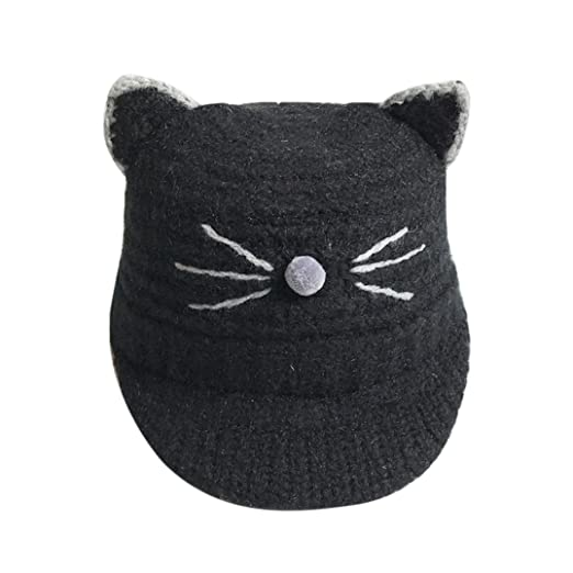 00683833b7a Amazon.com  Weiyun Baby Cat Knitted Cap Cat Ear Baby Knitted Hats Winter  Windproof Kids Children Knitted Crochet Beanies Caps (Black)  Clothing