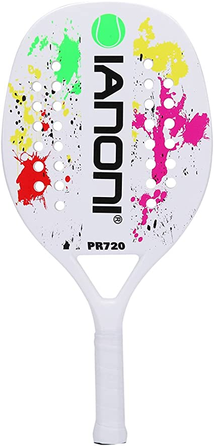 ianoni Beach Tennis Racket,Carbon Fiber Grit Face with EVA Memory Foam Core Beach Tennis Racket