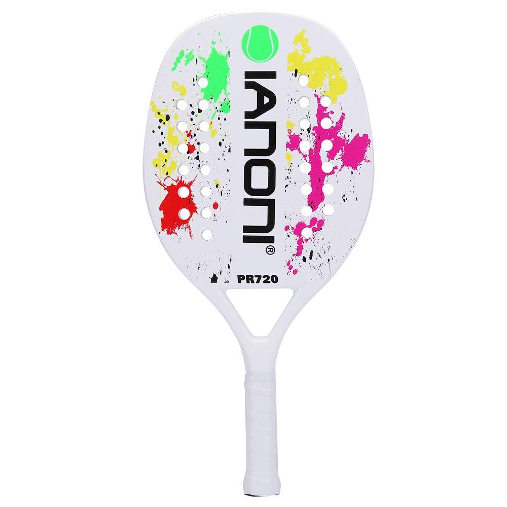 ianoni Beach Tennis Racket Carbon Paddle Fiber Grit Face with EVA Memory Foam Core Beach Tennis Raquet (White)