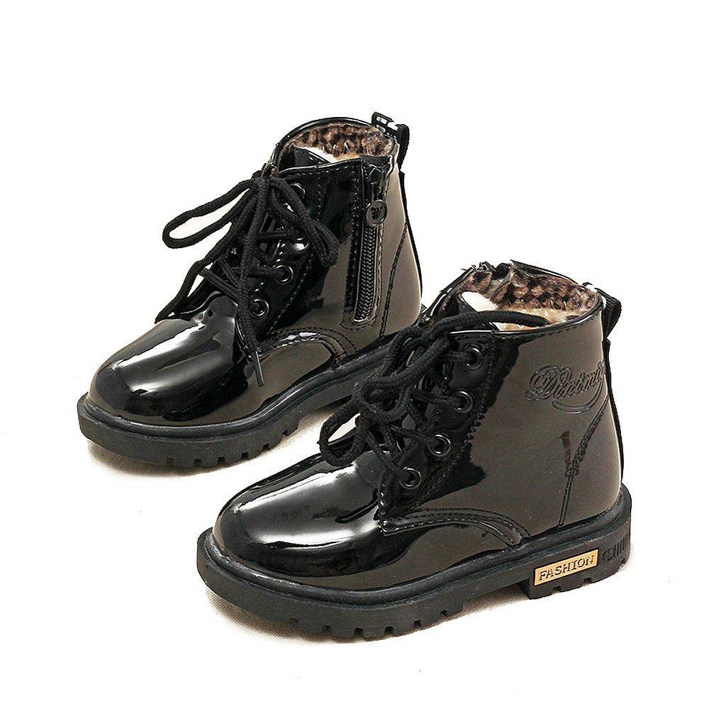 Garçons Filles Martin Bottes Lace Up Boots Bottes de Neige Enfants Waterproof Durable Hiver Boots Fourrure Doublure Chaudes Boots Taille 21-36