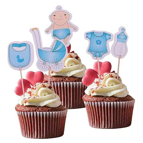 andy Cool - Juego de 20 piezas de chupetes y adornos para cupcakes ...