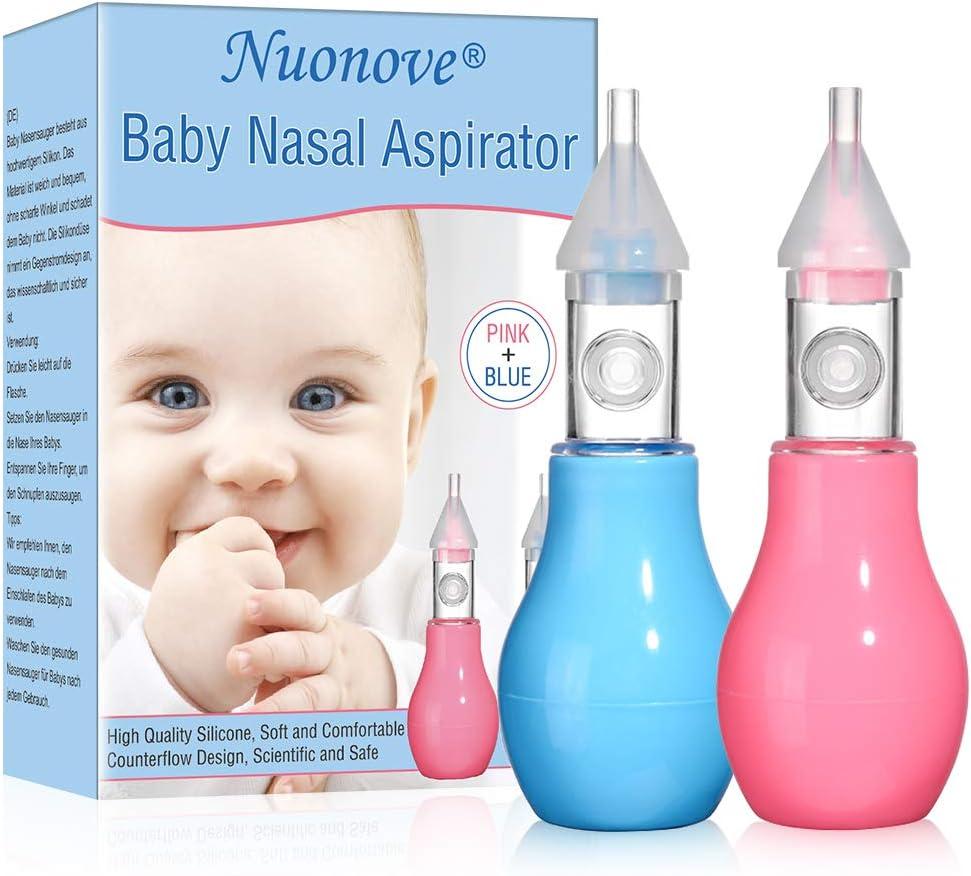 Aspirador Nasal, Limpiador Nasal Bebe, Bebé Aspiración Mucosa Succión Reutilizable, Mejor Para alivio de la congestión nasal infantil, 100% seguro mocos limpiador(rosa+ Azul)