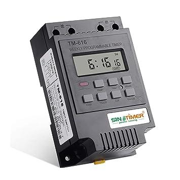 SINOTIMER TM616B-2 30A 220V Electronic Weekly Programable Digital TIME SWITCH Temporizador de relé Temporizador de control Din Rail Mount - Negro: ...