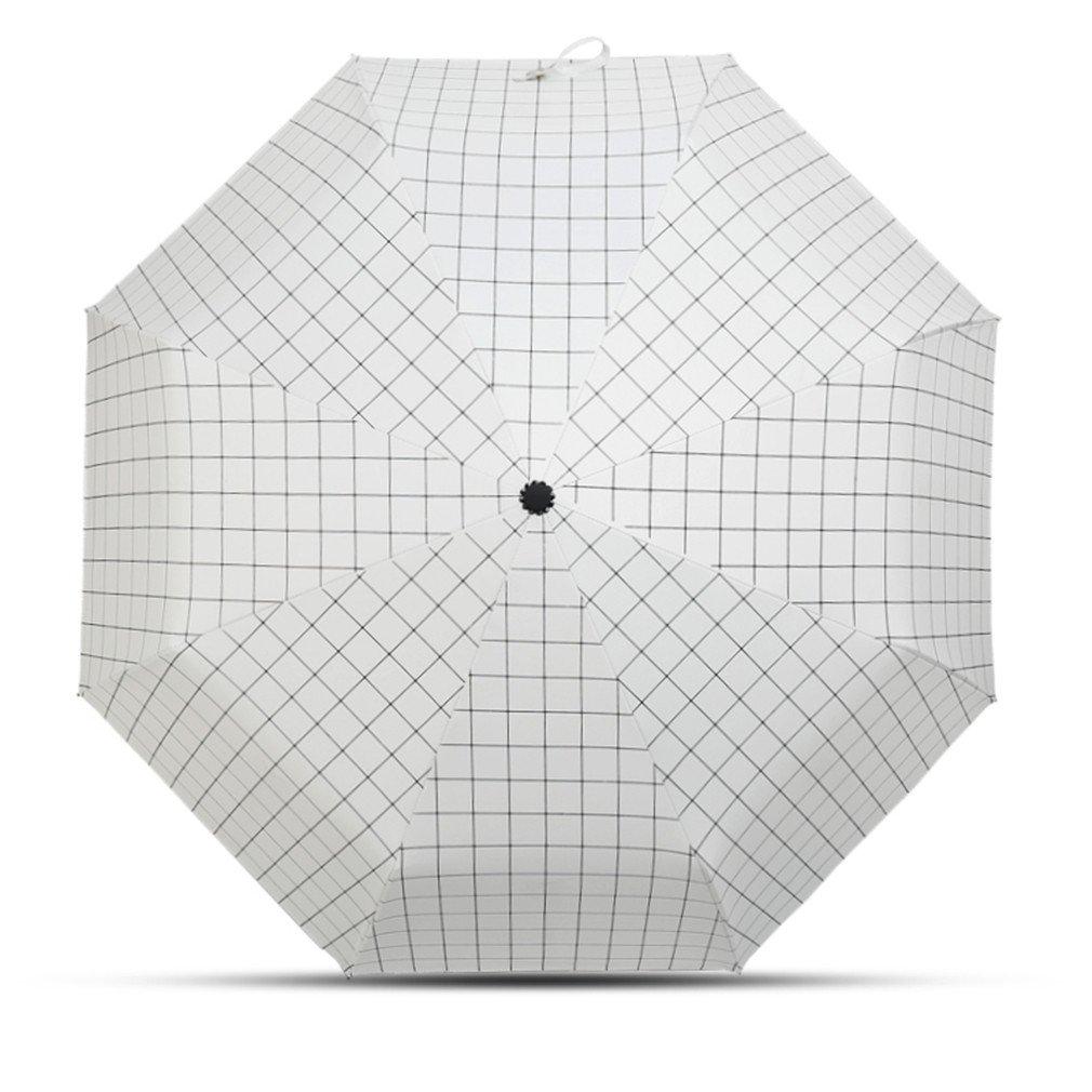 Guoke Umbrellas Sunscreen Minimalist Grid Collapse The Fine Rain With Two Black Rubber Umbrella, White