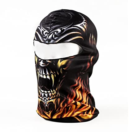 ef9289ad342 Amazon.com   SODIAL(R)Black Flame Skull 3D Animal Active Outdoor Sports Cycling  Motorcycle Masks Ski Hood Hat Veil Balaclava UV Protect Full Face Mask BB20  ...